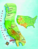 Map of California and USA